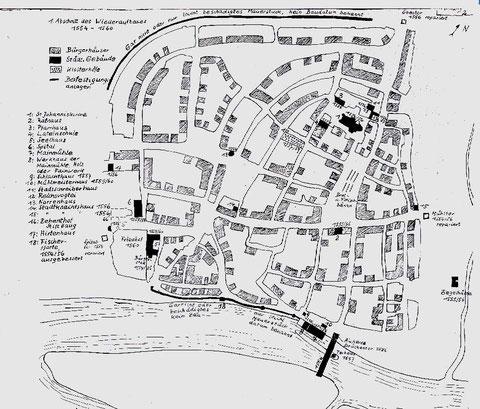 Karte zum Wiederaufbau 1554 - 1559     ........bitte vergrößern!
