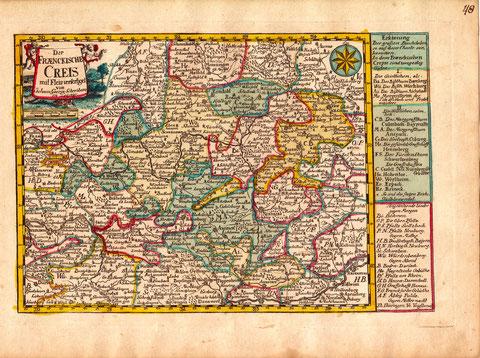 Der Fränkische Kreis - altkolorierte Kupferkarte Schreibe 1749