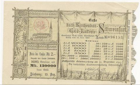 Lotterielos zur Finanzierung des Kirchenneubaues