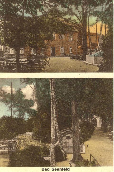 Bad Sennfeld um 1926 kurz vor dem Umbau durch den Architekten und Besitzer Johann Fischer. Er hatte Bad Sennfeld 1913 für 27.000 Mark gekauft