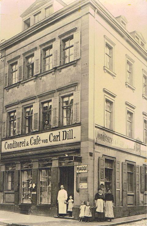 Obere Straße 2 Cafe und Konditorei Dill, ca. 1925