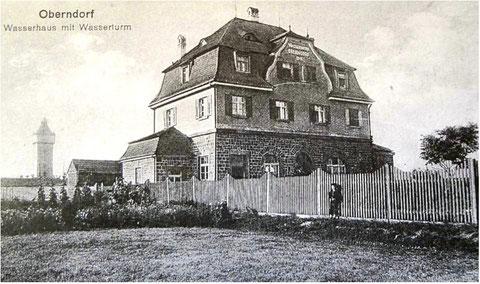 Wasserhaus mit Wasserturm um 1920