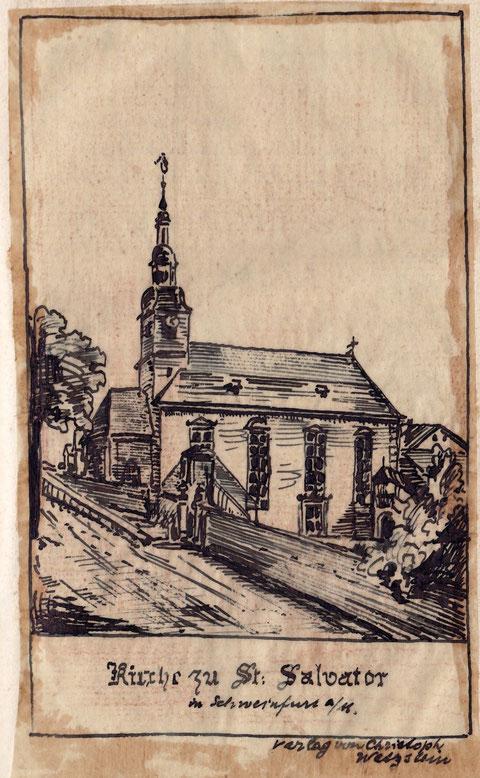 St. Salvatorkirche im 19. Jahrhundert - Pauschzeichnung des Majors Friedrich Sixt, Schweinfurt