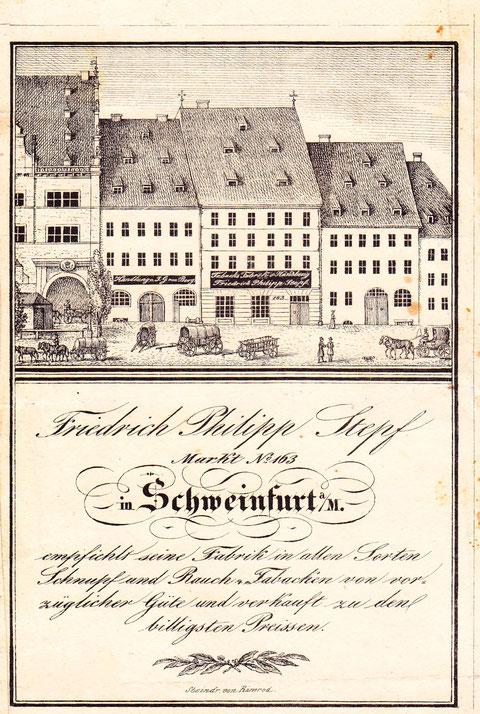 Firma Stepf am Marktplatz neben dem Rathaus um 1850 - Archiv Peter Hofmann