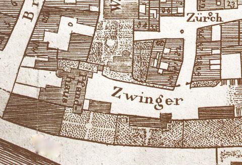 Lage des Zwingers in der Altstadt