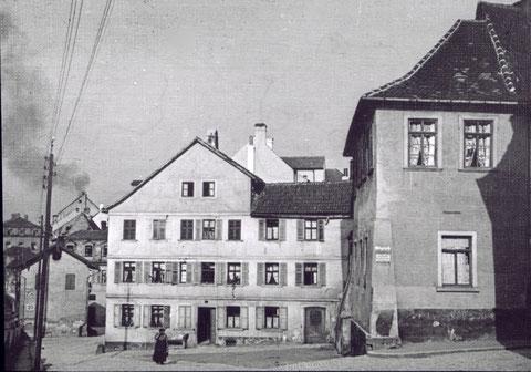 Einmündung Metzgergasse mit Haus Nr. 16, geradeaus Richtung Fischerrain