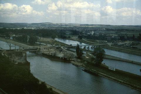 26. August 1962 -  Blick in Richtung Baustelle Staustufenwehr