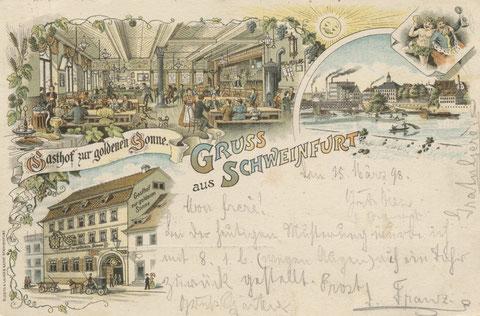 Brückenstraße 28 Gasthaus zur Sonne (später Münchner Hofbrau) um 1900