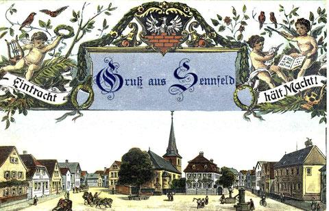 Diese Grußkarte war ursprünglich eine Erinnerungskarte zum 40 jährigen Stiftungsfest des Gesangvereins Sennfeld. Die nächste Karte ist die Originalkarte ohne Aufdruck