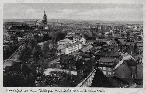Blick von der Hl-Geist-Kirche auf die Rüfferstraße (links) und den Jägersbrunnen, dahinter Ernst-Sachs-Bad und Kilianskirche, ganz rechts Hadergasse, um 1938 - bitte vergrößern!