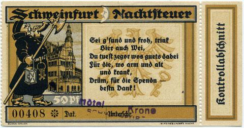"""Nachtsteuerschein, der in der """"Krone"""" ausgestellt wurde"""