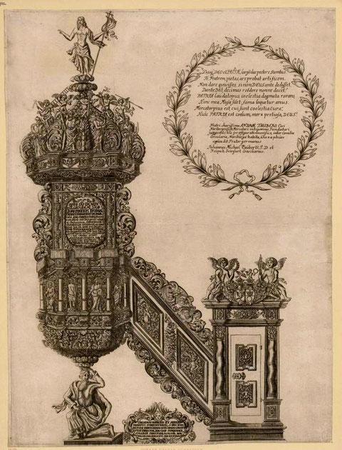 von Schneider, Joh. Kasp. (Zeichner & Stecher) Kanzel der Johanniskirche im Jahre 1696.