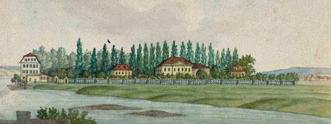 """""""Die Gademannische Anlage und Fabrik auf dem Börklein bei Schweinfurt"""". Aquarell auf Papier, 1833"""