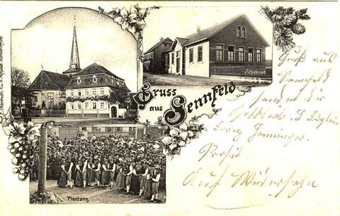 Vor der Kirche das 1870er Kriegerdenkmal. Bild rechts das 3. Schulhaus, erbaut 1902, aufgestockt 1908. Heute Bürgersaal und Gemeindearchiv. Links davon das 2. Schulhaus