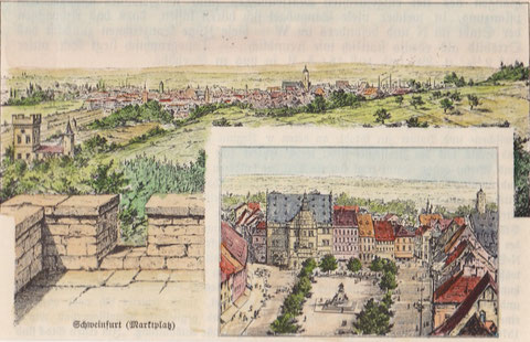 Schweinfurt Gesamtansicht von Peterstirn aus und Marktplatz, Holzstich 1896, Dietrich