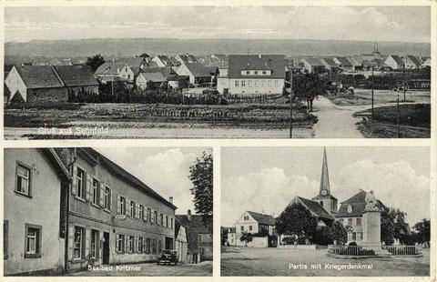 Saalbau Kritzner um 1933. Inhaber Georg Kritzner. Links von der Kirche ist die erste Sennfelder Schule. Rechts das Pfarrhaus. Vorne Kriegerdenkmal 1914-1918