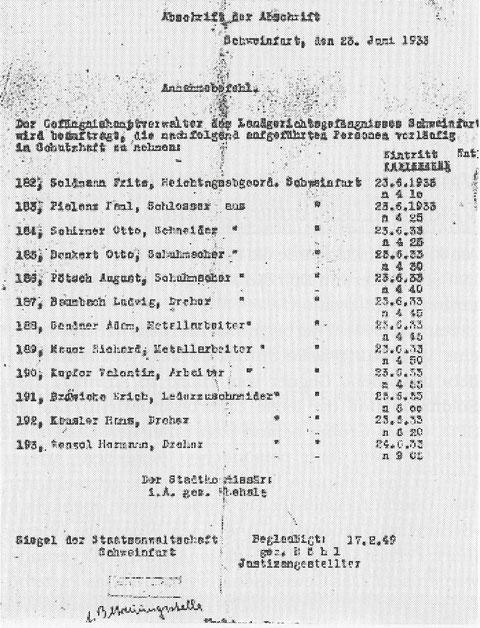 Haftbefehl gegen Fritz Soldmann und weitere Gegner der Nationalsozialisten