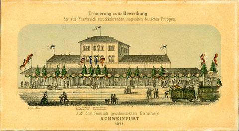 """Darstellung aus dem 1871 - Rückkehr der """"siegreichen deutschen Truppen"""" aus dem deutsch-französischen Krieg"""