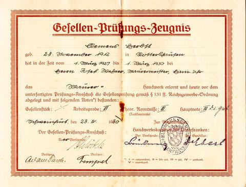 Ein Handwerkszeugnis aus dem Jahre 1930 (Gesellenprüfung) mit Unterschriften Glöckle und Tasch
