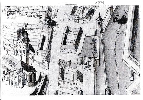 Ausschnitt aus dem Plan von Tauber 1771 - Man sieht hier die Hauptwache, die in etwa so ausgesehen haben könnte mit drei Kanonen auf dem Dach - auch die Johanniskirche ist relativ realistisch dargestellt