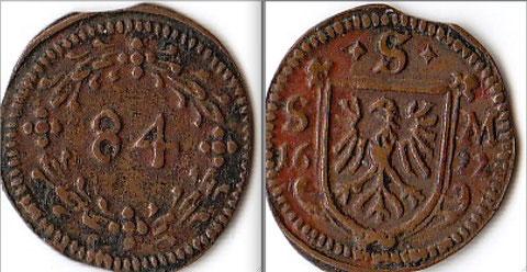 SCHWEINFURT, Stadt: Kipper-Körtling (1/84 Gulden)1622 +S+ / S-M  Die Münze wurde Körtling oder Dreier genannt