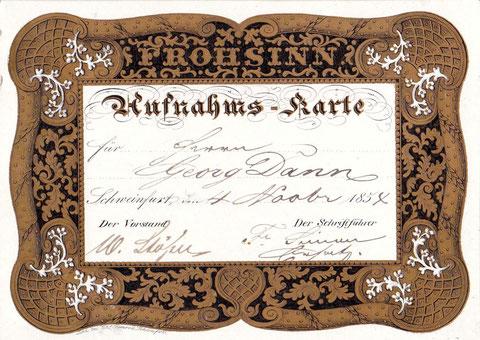 Aufnahmeschein aus dem Jahr 1854