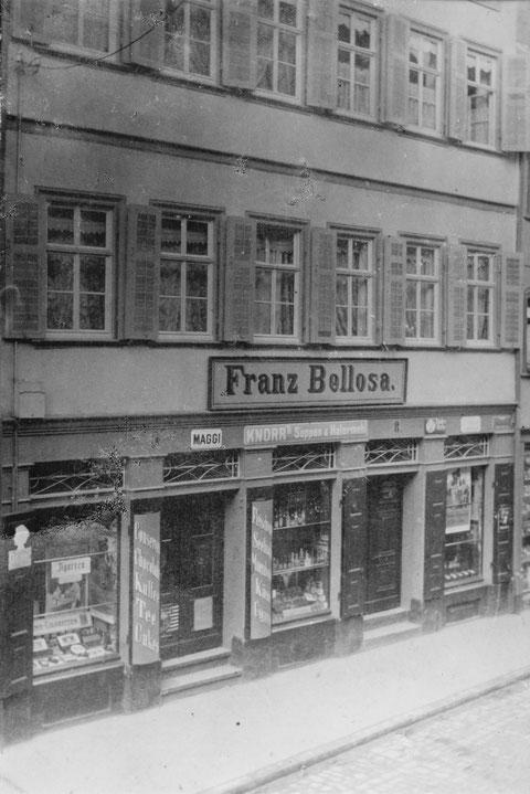 Brückenstraße 8 um 1910, Einkaufsmarkt Franz Bellosa