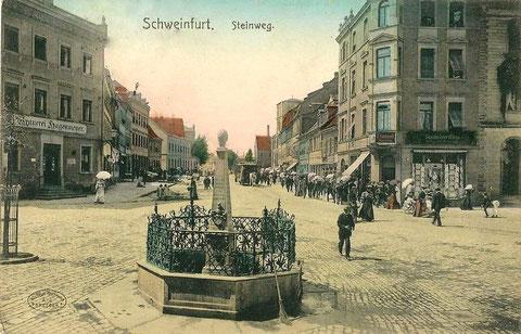 Ca. 1903 - mit Pferdekutschenbahn und Brauerei Hagenmeyer, mittig Vierröhrenbrunnen
