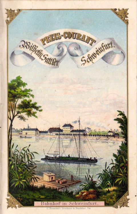 Blick über den Main im Jahr 1856 - Darstellung auf einer Sattler'schen Werbebroschüre des Jahres 1856 - Im Hintergrund der zwei Jahre alte Stadtbahnhof