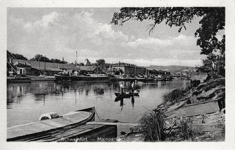 Blick auf die Mainlände um 1950 (Poststempel)