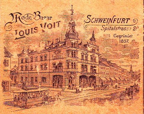 Darstellung in einer Reklame des Kaufhauses Tietz im Schweinfurter Einwohnerbuch 1921