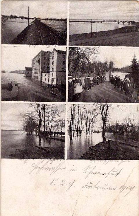 Ansichtskarte zum Hochwasser Februar 1909