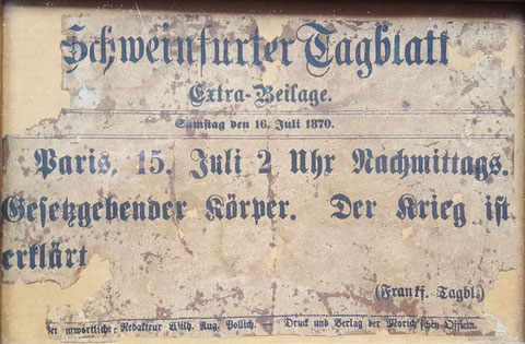 """Schlagzeile in der """"Extra-Beilage"""" des Schweinfurter Tagblattes vom 16. Juli 1870 - Danke an Dieter Engert"""