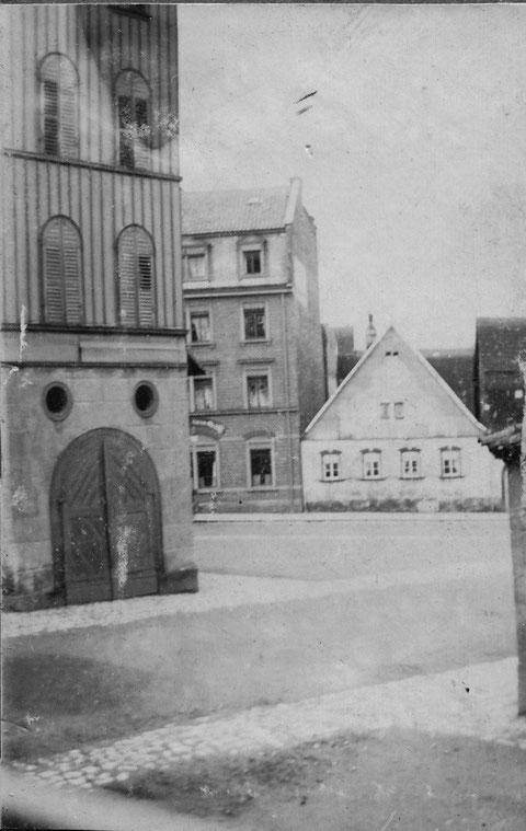 links das Gießhaus (Steigerturm) vor 1907