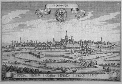 Südansicht von Schweinfurt - Merian - Kupferstich von 1648
