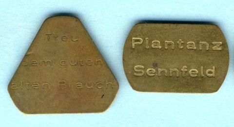 Plantanzmarken um 1955. Rückseite jeweils blank
