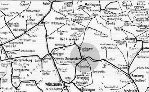 Kursbuchkarte 1946 - der Bahnhof Schweinfurt als wichtiger Knotenpunkt für den Eisenbahnverkehr in Mainfranken