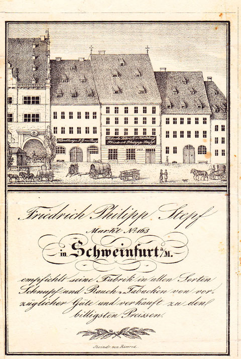 Firma Stepf am Marktplatz neben dem Rathaus um 1850