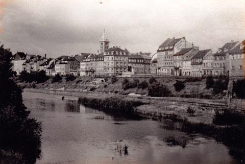 Blick zur Mainaussicht nach 1929, denn das Schlachthaus ist bereits beseitigt