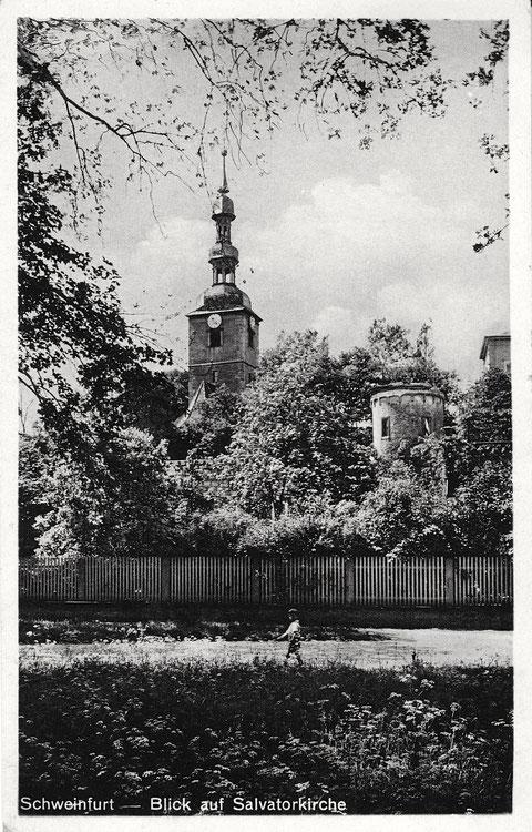 Salvatorkirche mit Stadtmauer und Pulverturm ca. 1937