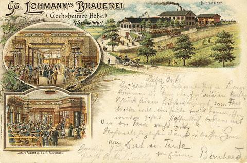 Georg Lohmanns Brauerei um 1895. Wurde 1909 von der Brauerei Hagenmeyer übernommen und danach Gochsheimer Höhe genannt. 1985 Stilllegung
