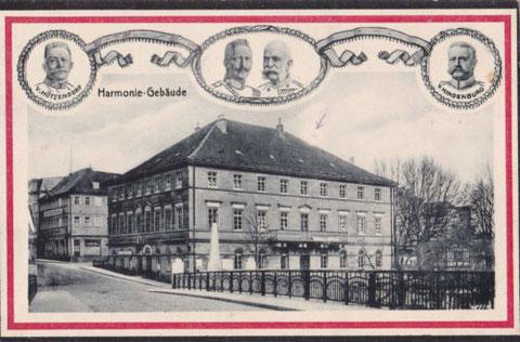 Harmoniegebäude an der Brückenstraße mit Maxbrücke 1916
