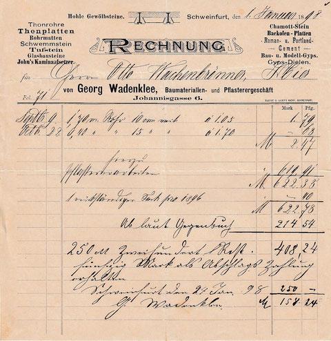 Baugeschäft Georg Wadenklee 1.1.1898 - Johannisgasse 6