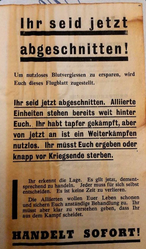 Derartige Flugzettel wurden kurz vor dem Einmarsch über der Stadt abgeworfen.... Danke an Aribert Elpelt