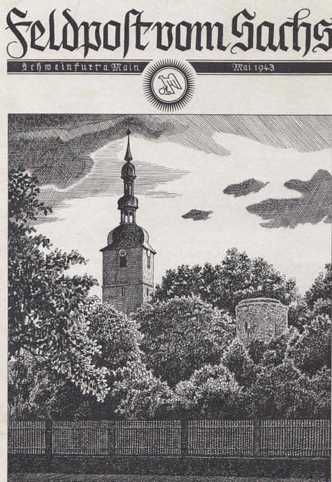 """St. Salvator Kirche mit Pulverturm auf der """"Feldpost vom Sachs"""" Mai 1943"""