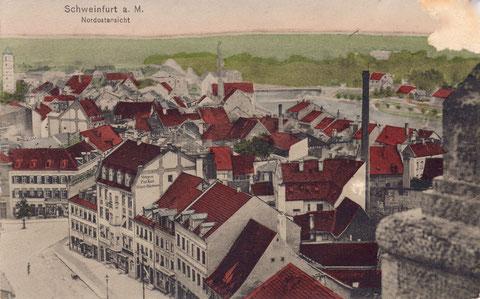 Blick auf Steinweg mit Metzgerei Paul Kast (Steinweg Nr. 9) um 1904