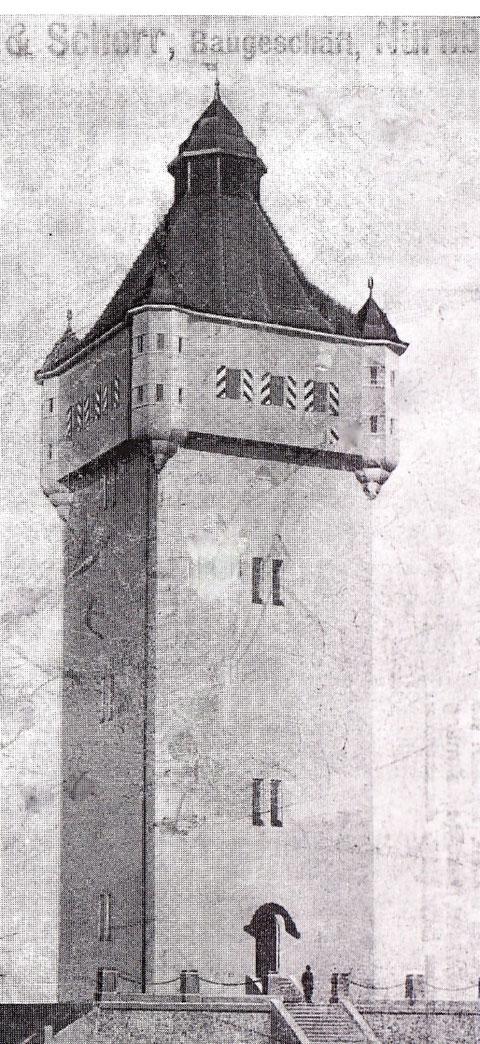 Der Wasserturm nach seiner Erbauung im Jahre 1912