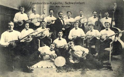 Die Tamboritza-Kapelle von Robert Novacek. Diese Schweinfurter Kapelle trat in Bad Sennfeld erstmals 1913 auf