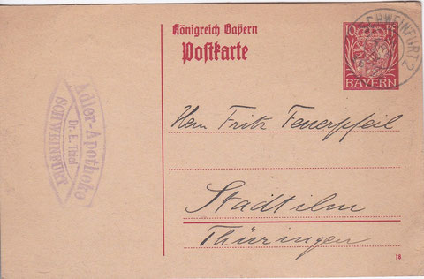Postkarte mit Stempel Adler-Apotheke