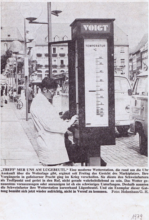 """Einen """"Ersatz-Lügenbeutel"""" stellte die Firma Voigt am Marktplatz im Jahre 1979 auf"""